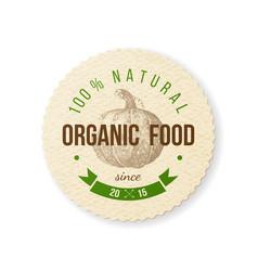 organic food round paper emblem vector image