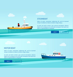 retro steamboat and motor boat out in sea vector image