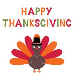 thanksgiving turkey card vector image vector image