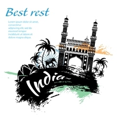 Travel india grunge style vector