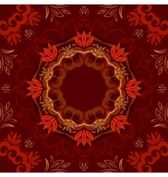 Abstract red floral background with round pattern vector image