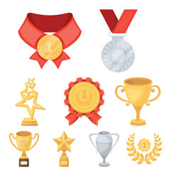 awards gold medals and cups as prizes in vector image