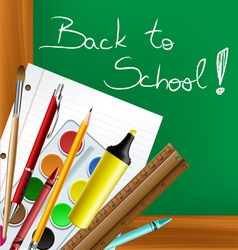 Back to school frame with tools vector image
