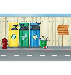 Dustbins a fire hydrant and a notice board vector image