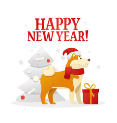 happy new year postcard template with the cute vector image vector image