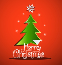 Merry Christmas Card with Green Tree and Paper vector image