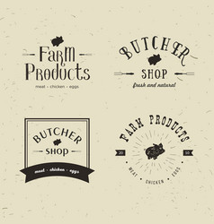 set of retro styled butchery logo templates vector image vector image