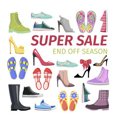 super sale end off season big shoes collection vector image vector image