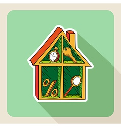 Vintage hand drawn real estate house business vector image