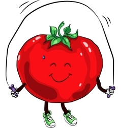 beautiful ripe tomato jumping rope vector image