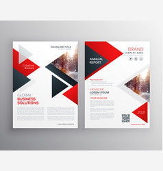 business brochure in red black triangle shape vector image vector image