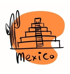 Mexico city Mayan pyramids vector image