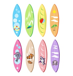 Set of Surfboards with Different Designs vector image vector image