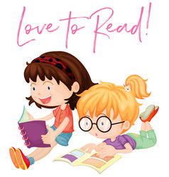 Two girls reading books vector
