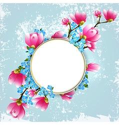 Vintage Floral Magnolia Frame vector image vector image