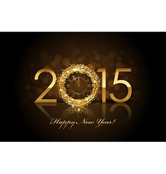 2015 Happy New Year background with gold clock vector image vector image