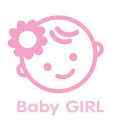 baby girl face icon symbol isolated background vector image