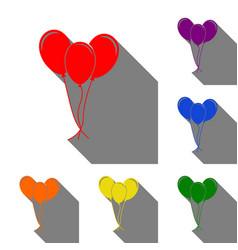 balloons set sign set of red orange yellow vector image