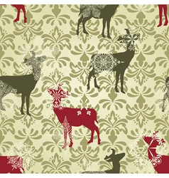 Christmas seamless vintage wallpaper vector image
