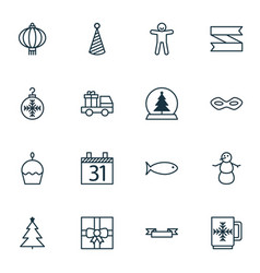 set of 16 holiday icons includes tree toy gift vector image
