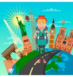 Tourist with Backpack and Camera vector image