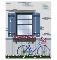 Vintage Bicycle and Flowers under the window vector image