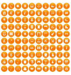 100 amusement icons set orange vector