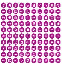 100 paying money icons hexagon violet vector image