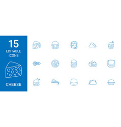15 cheese icons vector image