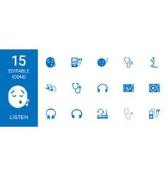 15 listen icons vector