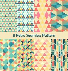 8 Retro different seamless patterns set vector
