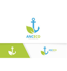 anchor and leaf logo combination marine vector image