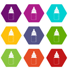 baby milk bottle icon set color hexahedron vector image
