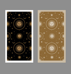 Back tarot card decorated with stars sun and vector