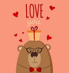 bear with present postcard love you vector image