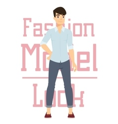 Beautiful cartoon fashion boy model vector image