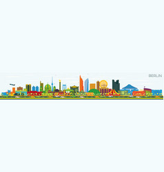 Berlin germany city skyline with gray buildings vector