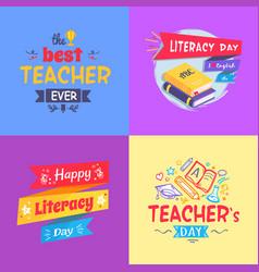 best teacher ever poster set vector image