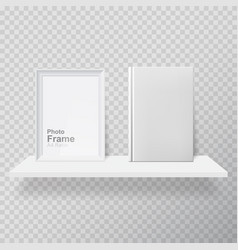blank frame and white book on shelf vector image