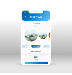 Blue trip and travel ui ux gui screen for mobile vector