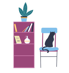 Bookshelf with houseplant and cat sitting on chair vector