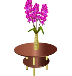 Bouquet of orchids in vase on coffee table vector image