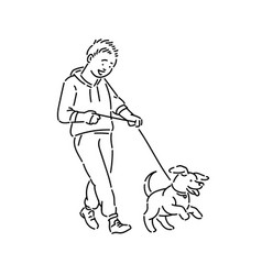 Boy walking dog puppy on leash promenade with pet vector