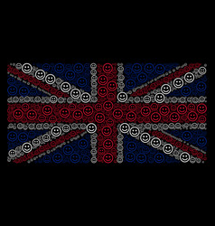British flag pattern of glad smiley icons vector