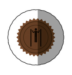 Brown emblem person do exercise gym vector