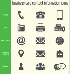 business card contact information icons vector image