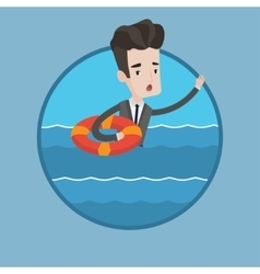Businessman sinking and asking for help vector image