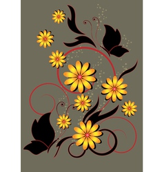 Butterfly and yellow flowers with floral pattern vector