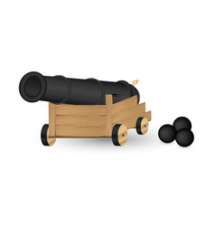 Cannon with a cannonball on a white background vector