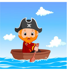 cartoon little pirate was surfing the ocean vector image